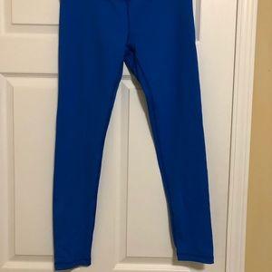 Bright blue athletic leggings